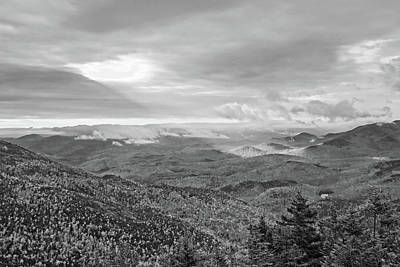 Photograph - In The Spotlight Ray Of Sun From Giant Mountain Keene Valley Ny Adirondacks Black And White by Toby McGuire