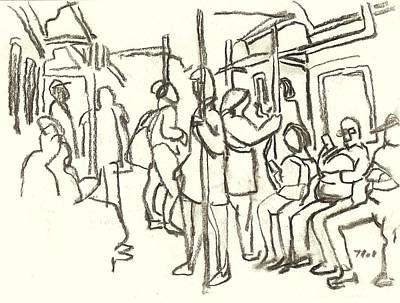Drawing - In The Subway, Nyc by Thor Wickstrom