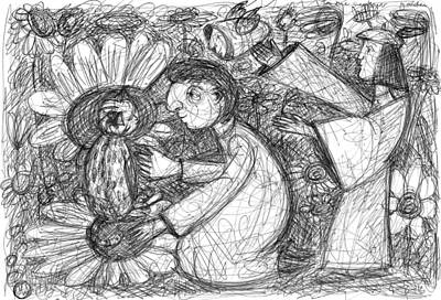 Drawing - In The Sunflower Garden by June Walker