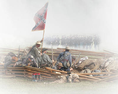 Photograph - In The Trenches With Civil War Reenactors by Randall Nyhof