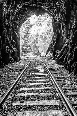 Photograph - In The Tunnel Black And White by Debra and Dave Vanderlaan
