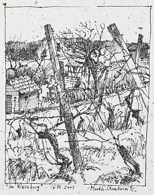 Red Wine Drawing - In The Vineyard Ink Drawing by Martin Stankewitz