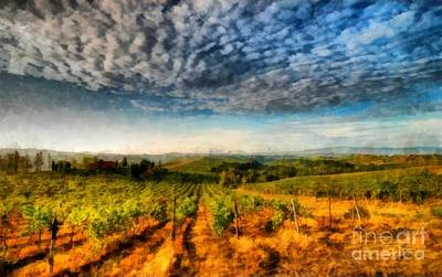 Winery Photograph - In The Vineyard Winery Landscape by Edward Fielding