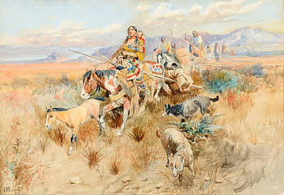 Hunting Party Painting - In The Wake Of A Cree Hunting Party by Celestial Images