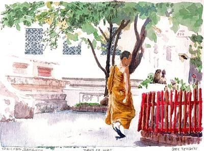 Bangkok Painting - In The Wat by Joel Tenzin