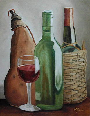 Oil . White Wine Painting - In The Winery by Angeles M Pomata
