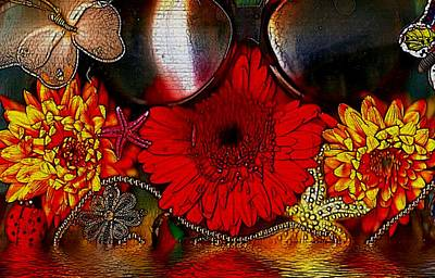 Ladybug Mixed Media - In The Wood Of Fantasy By The Water by Pepita Selles