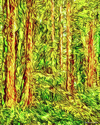 Art Print featuring the digital art In The Woods - Forest Trees Vashon Island Washington by Joel Bruce Wallach