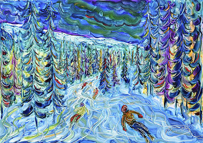 Painting - In The Woods La Plagne by Pete Caswell
