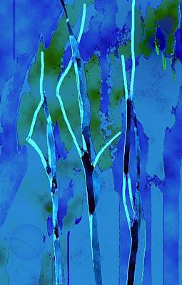 Abstract Digital Drawing - In The Woods by Mimo Krouzian