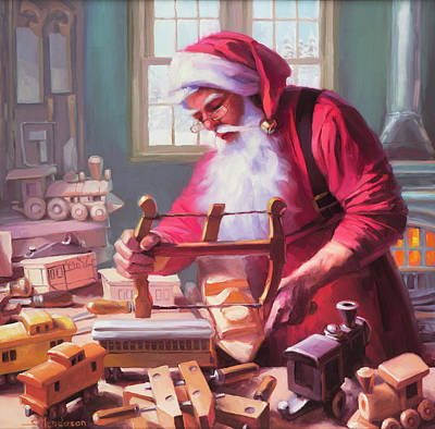 Santa Wall Art - Painting - In The Workshop by Steve Henderson