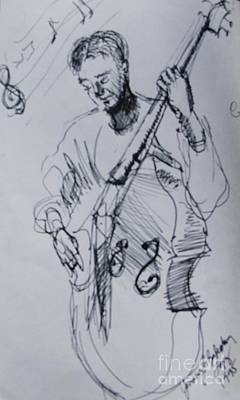 Bass Player Drawing - In The Zone Bass Player by Jamey Balester