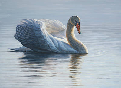 Swans... Painting - In To The Light by Bruce Dumas