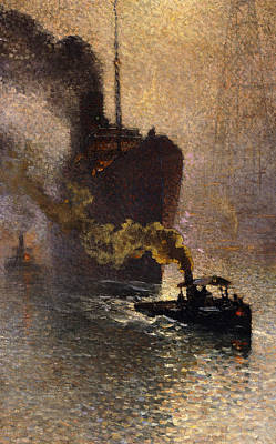 Smoke In The Fog Painting - In Tow On The Thames In The Fog by Emile Claus