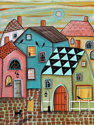 Colorful Houses Painting - In Town by Karla Gerard