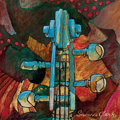 Musical Art By Susanne Clark Painting - In Tune - String Instrument Scroll In Blue by Susanne Clark