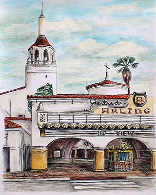 Drawing - In View Arlington Theater by Danuta Bennett