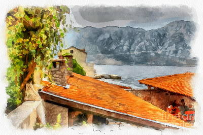 The Church Mixed Media - In Village On Sea by Yury Bashkin