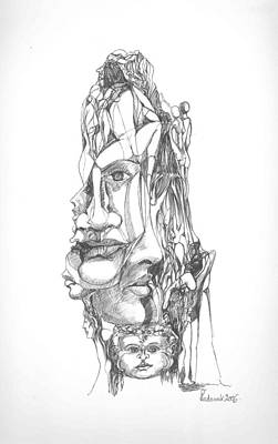 Abstract Forms Drawing - In Your Head by Padamvir Singh
