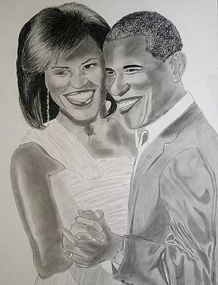 President And First Lady Drawing - Inaugural Dance  by Anastasios Fatsis