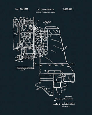 Drawing - Inboard Motor Patent by Dan Sproul