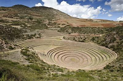 Terracing Photograph - Inca Agricultural Terraces, Moray, Peru by Matthew Oldfield