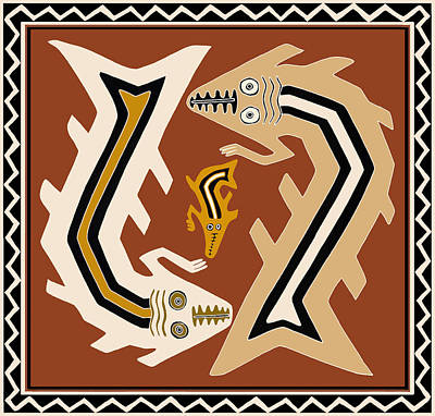 Digital Art - Inca Serpent Dance by Vagabond Folk Art - Virginia Vivier