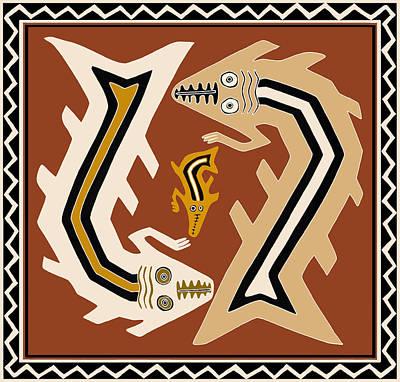 Digital Art - Inca Serpent Dance by Vagabond Folk Art - Virginia Vivier