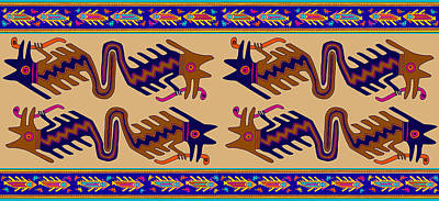 Digital Art - Inca Serprent Spirits by Vagabond Folk Art - Virginia Vivier