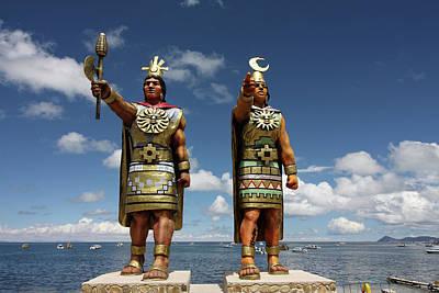 Photograph - Inca Statues At Copacabana Bolivia by Aidan Moran