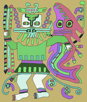 Digital Art - Inca Tribal Warrior With Serpent by Vagabond Folk Art - Virginia Vivier