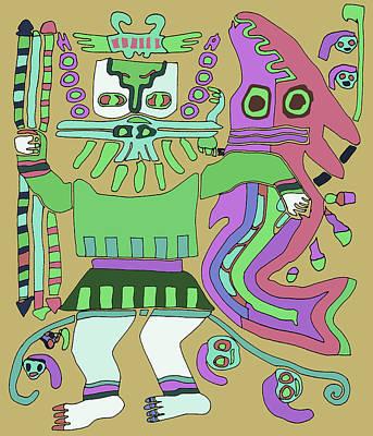 Digital Art - Inca Tribal Warrior With Serpent by Vagabond Folk Art - Virginia Vivier