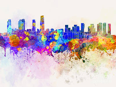 Incheon Skyline In Watercolor Background Print by Pablo Romero