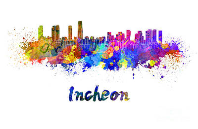 Grunge Painting - Incheon Skyline In Watercolor by Pablo Romero