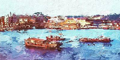 Art Print featuring the digital art Inchon Harbor by Dale Stillman