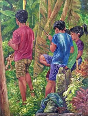 Mayon Painting - Incident In Abaca Farm by Manuel Cadag
