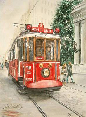 Tram Red Painting - Incoming by Birol Akmeric