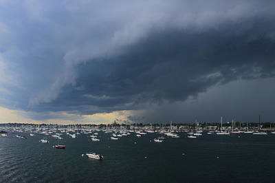 Photograph - Incoming Thunderstorm At Marblehead Harbor by John Burk