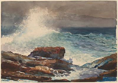 Maine Coast Drawing - Incoming Tide - Scarboro - Maine by Winslow Homer