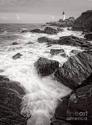 Photograph - Incoming Wave, Portland Head Light, Cape Elizabeth, Me #79000 by John Bald