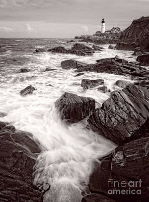 Photograph - Incoming Wave, Portland Head Light, Maine  -79000 Bw by John Bald