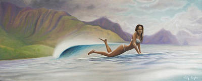 Female Surfer Painting - Indah by Kelly Meagher