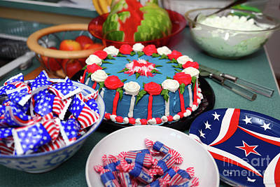 Photograph - Independence Day 4th July Cake And Sweets by James Brunker