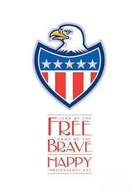 Id4 Digital Art - Independence Day Greeting Card-american Bald Eagle Flag Shield by Aloysius Patrimonio