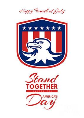 Id4 Digital Art - Independence Day Greeting Card - American Bald Eagle Head Flag by Aloysius Patrimonio