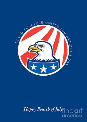 Id4 Digital Art - Independence Day Greeting Card-american Bald Eagle Head Side by Aloysius Patrimonio