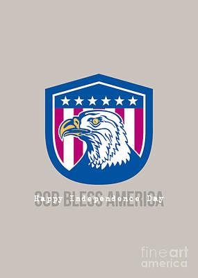 Id4 Digital Art - Independence Day Greeting Card-american Bald Eagle Head Side Stars  by Aloysius Patrimonio