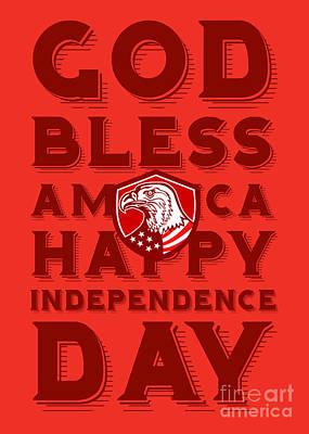Id4 Digital Art - Independence Day Greeting Card-american Bald Eagle Shield by Aloysius Patrimonio