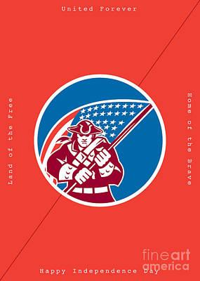 Id4 Digital Art - Independence Day Greeting Card-american Patriot Holding Flag by Aloysius Patrimonio
