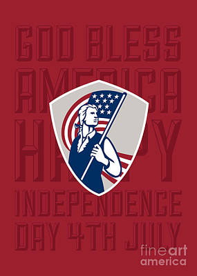 Independence Day Greeting Card-american Patriot Holding Usa Flag Shield Art Print